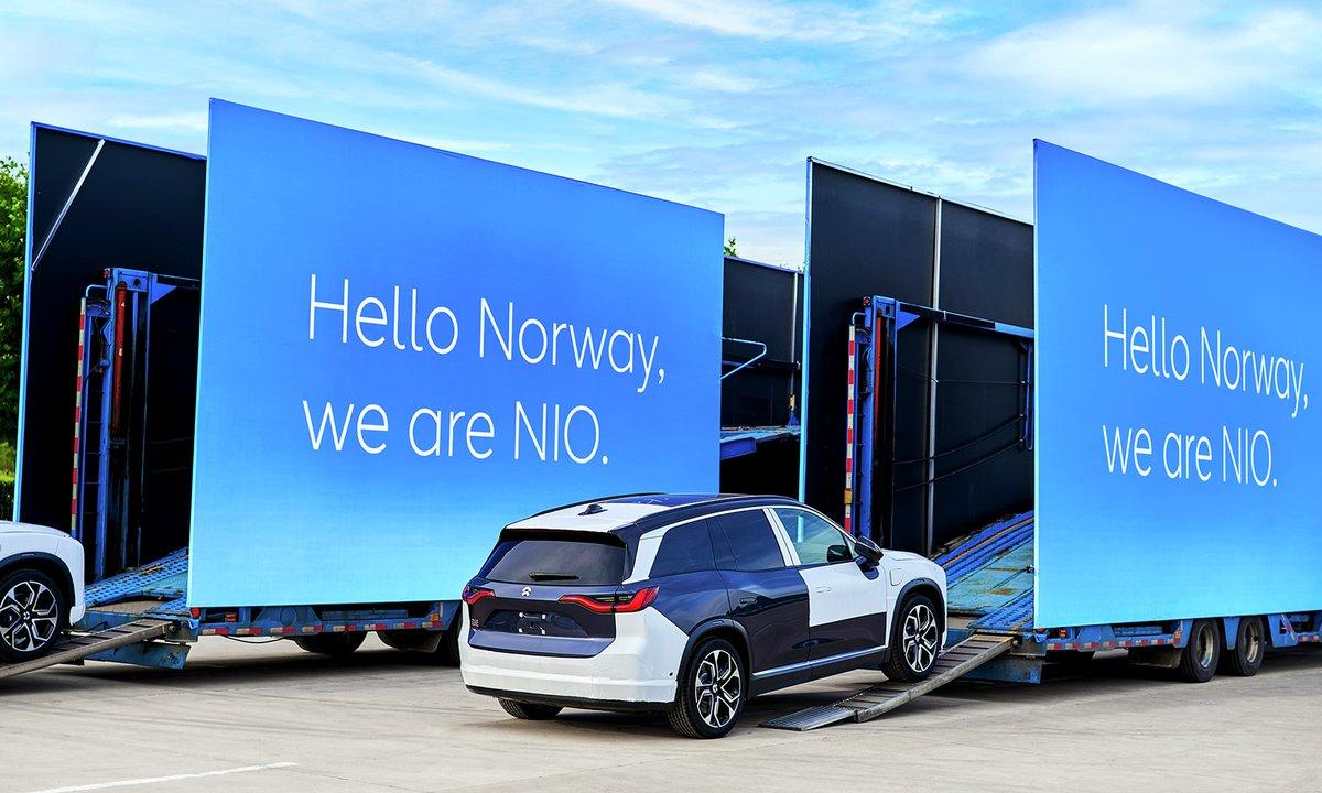 Her de første NIO-bilene på vei til Norge