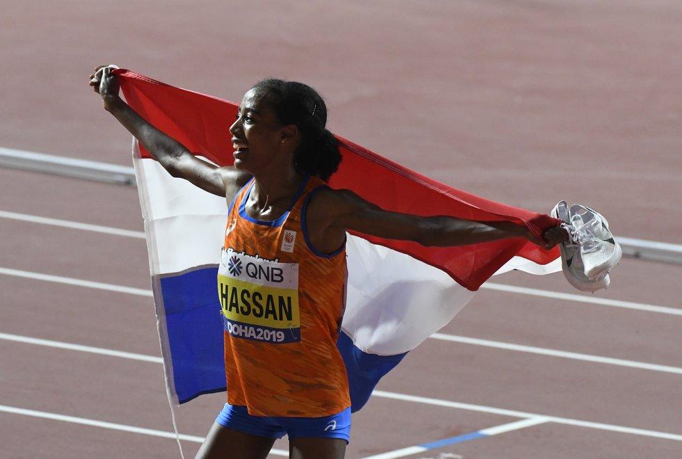Sifan Hassan er definitivt i rute til OL i Tokyo. Her fra VM i friidrett i Doha, 2019. Foto: Bjørn Johannessen.