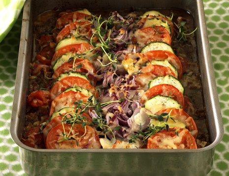 Kjøttdeig- og tomatgrateng