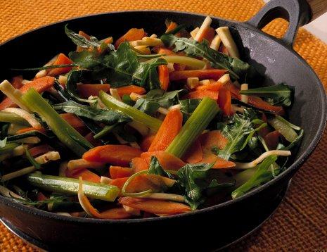 Oppskriftsbilde av glaserte grønnsaker i panne