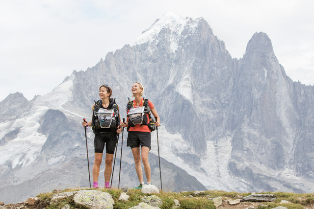 Mona KJELDSBERG and Monica STRAND at km15, Col de la Glière - Ultra Trail du Mont Blanc 2017