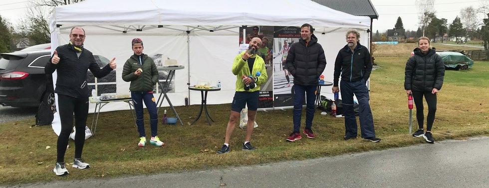 F.v: Roy K. Støle, Trym Bergun Larsen, Erlend B. Jenssen, Arild Hagen, Oddgeir Stensby og Lene Malin Sefland, Kondistreninga Årnes arrangerte Kondisløpet 31. oktober 2020