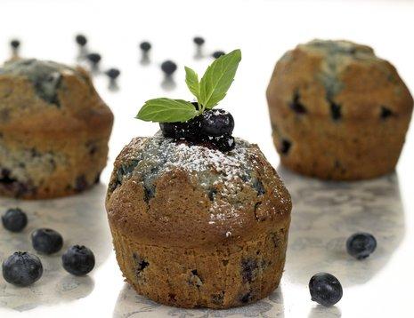 Tre blåbærmuffins