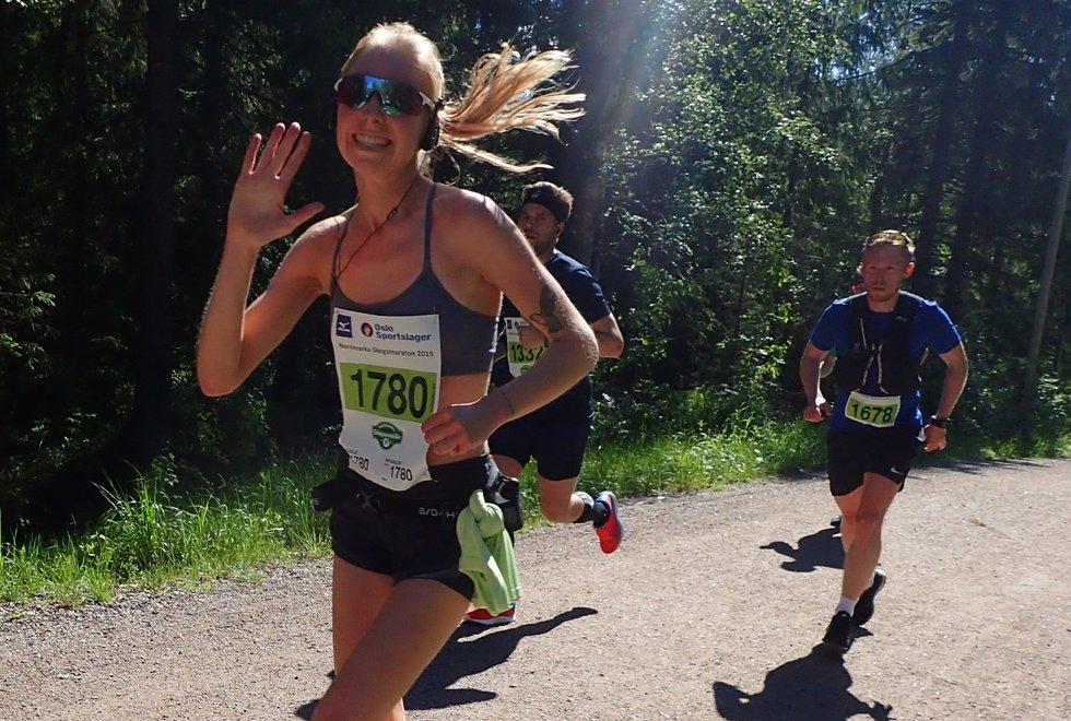 Caroline Kiær i Nordmarka Skogsmaraton 2019