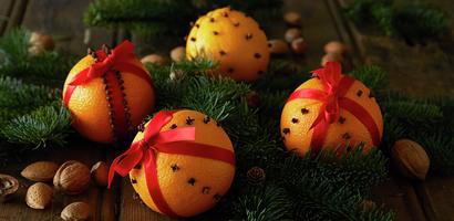 Appelsinkalendere i julemiljø