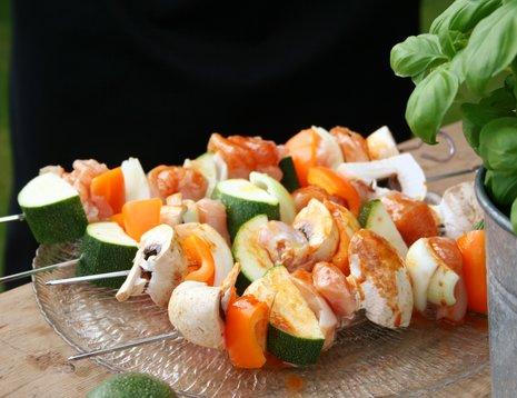 Grillspyd med squash og kylling