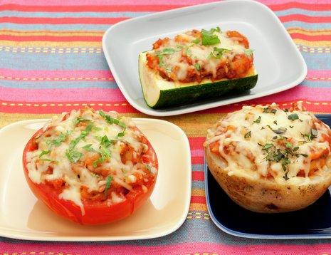 Bakt potet og grønnsaker med texmexfyll