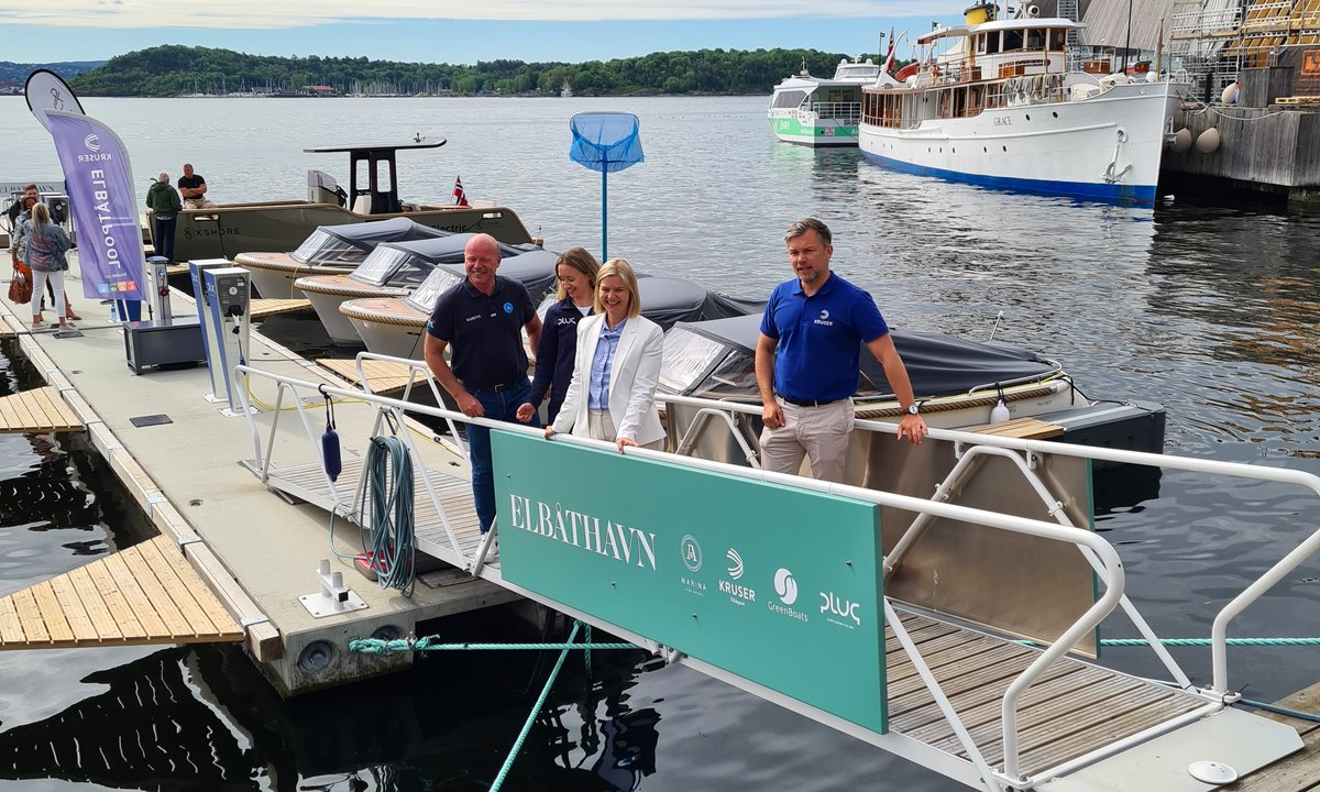 Åpnet Norges første elbåthavnpå Aker brygge