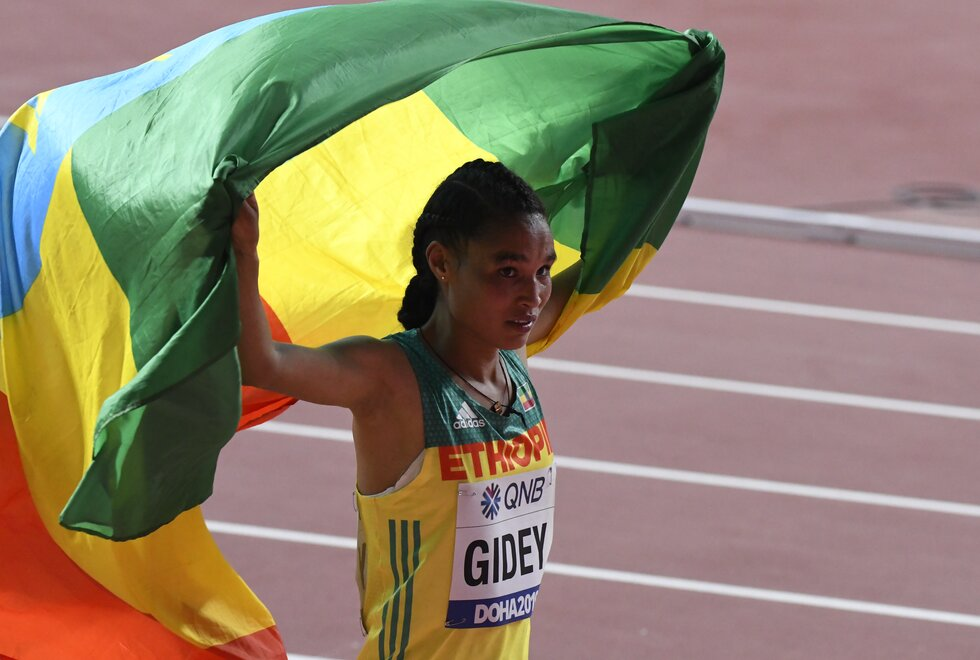 Letesenbet Gidey med ny verdensrekord på 10000 meter. Her fra Doha og VM i friidrett 2019. (Foto: Bjørn Johannessen)