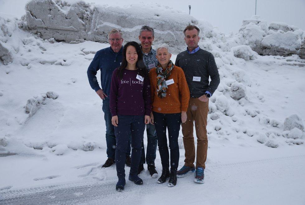 Kondis styret som ble valgt under Kondis sitt landsmøte 2019. F.v: Finn Olsen, Solfrid Hagen, Tim Bennett, Bodil Brå Alsvik og Bjørn Raffenberg Skotte.