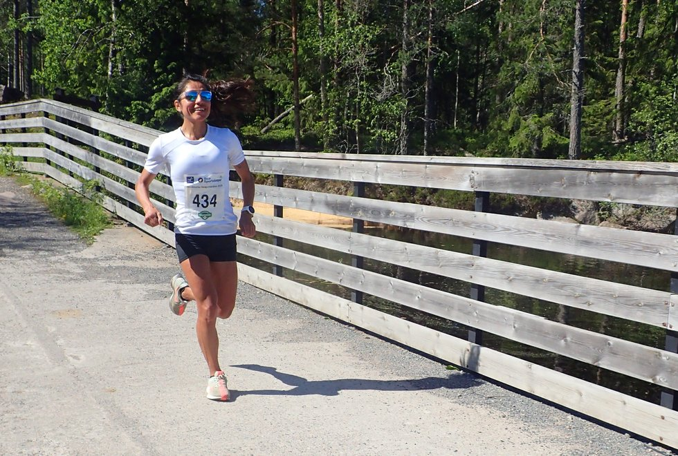 Vinner: Gloria Vinstedt vant kvinneklassen i Nordmarka Skogsmaraton.