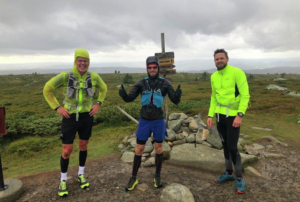 F.v: Erik Gaarder, Frank Andre Jacobsen og Jon Shaw på løpesamling for Kondis på Ilsetra august 2020