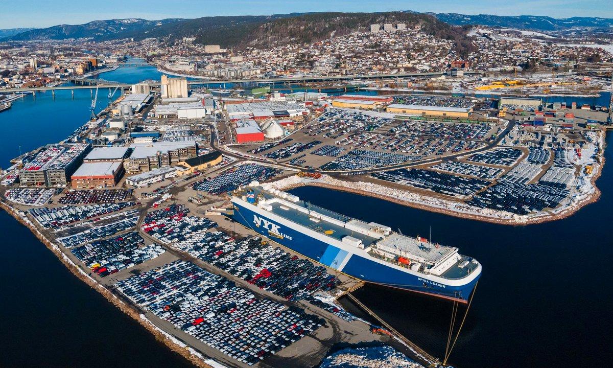 Elbil-bonanza fører til plass-problemer i Drammen havn