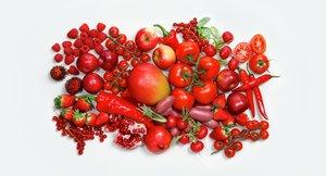 Fargerike frukt og grønnsaker, rød