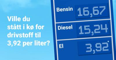Elbil strømpris vs drivstoff