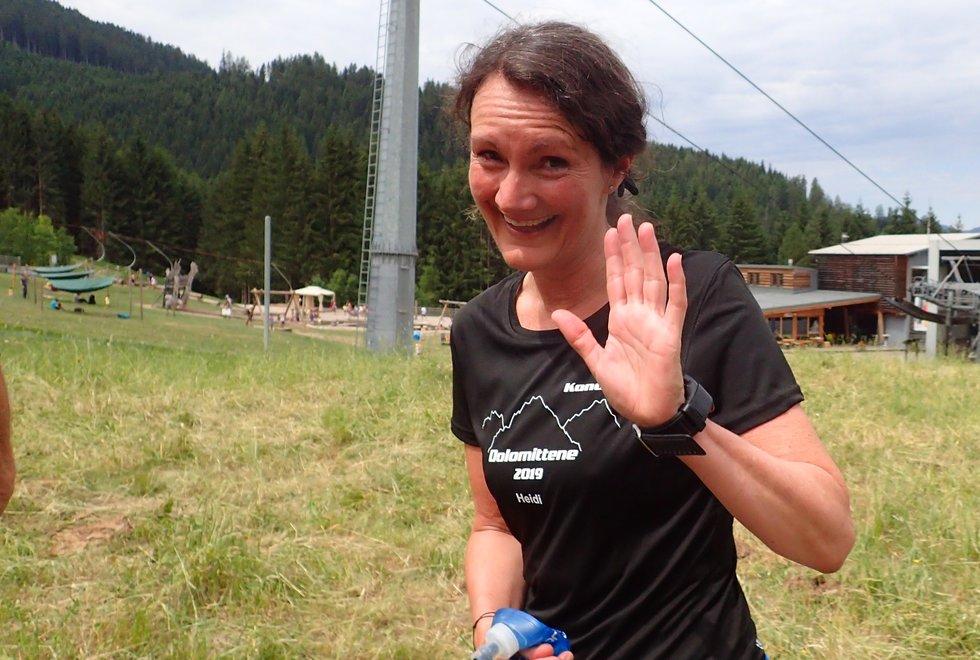 Heidi Syverstad i Monsterbakken i Cavalese i Val di Fiemme, Dolomittene, Italia
