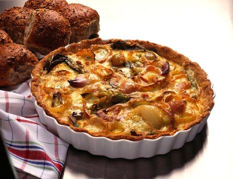 Løk- og potetpai i paiform