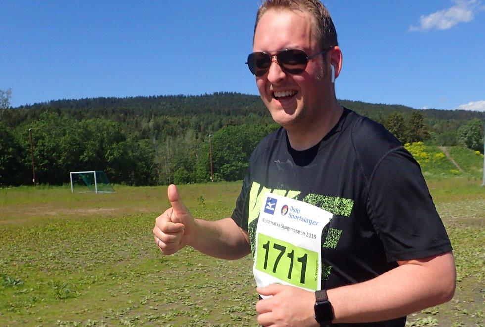 Eirik Engstad løp halvmaraton under Nordmarka Skogsmaraton 2019
