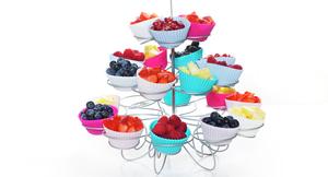 Frukt- og bæroppsats i muffinsstativ