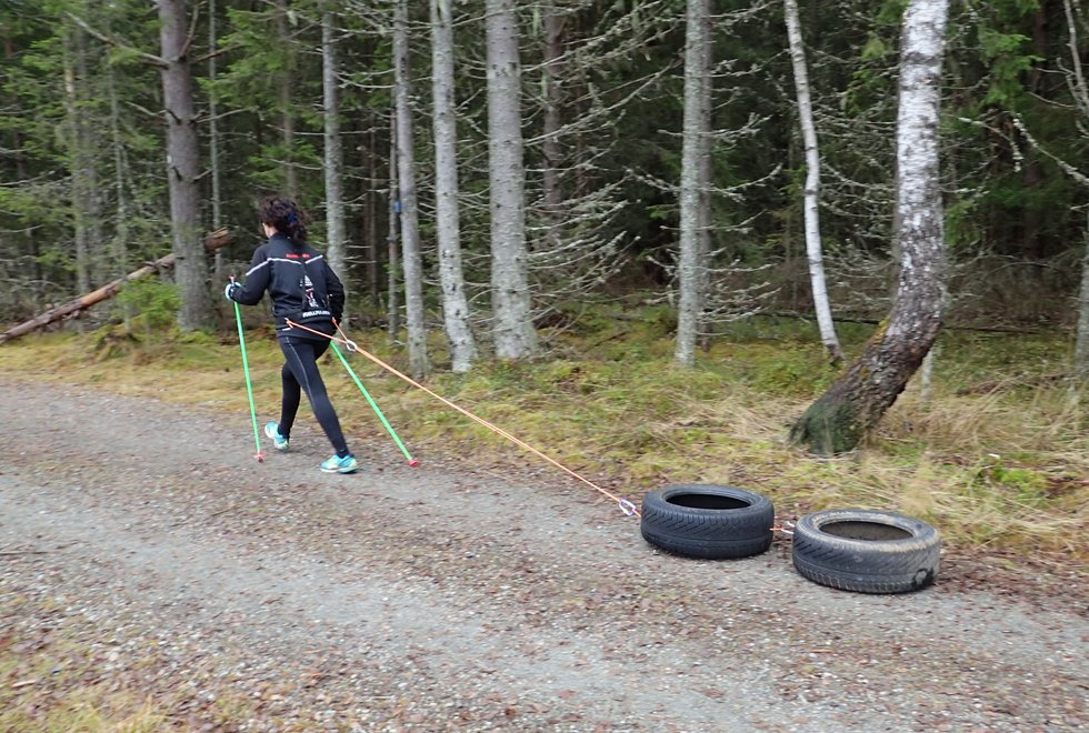 Trening med dekk er en fin trening på mange vis. (Foto: Christine Nyhus Weimoth)