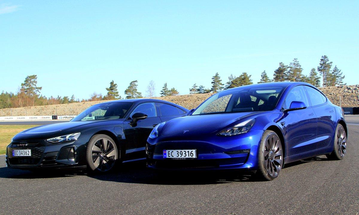 Baneduell: Vi har testet Audi e-tron GT mot Tesla Model 3 Performance