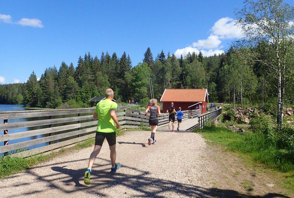 Rabatt på kvalitetsløp: Kondismedlemmer har 40-80 kroner i rabatt på startkontingenten i kvalitetsløp. Her fra Skjersjødammen i det idylliske kvalitetsløpet Nordmarka Skogsmaraton i fjor. (Foto: Marianne Røhme)