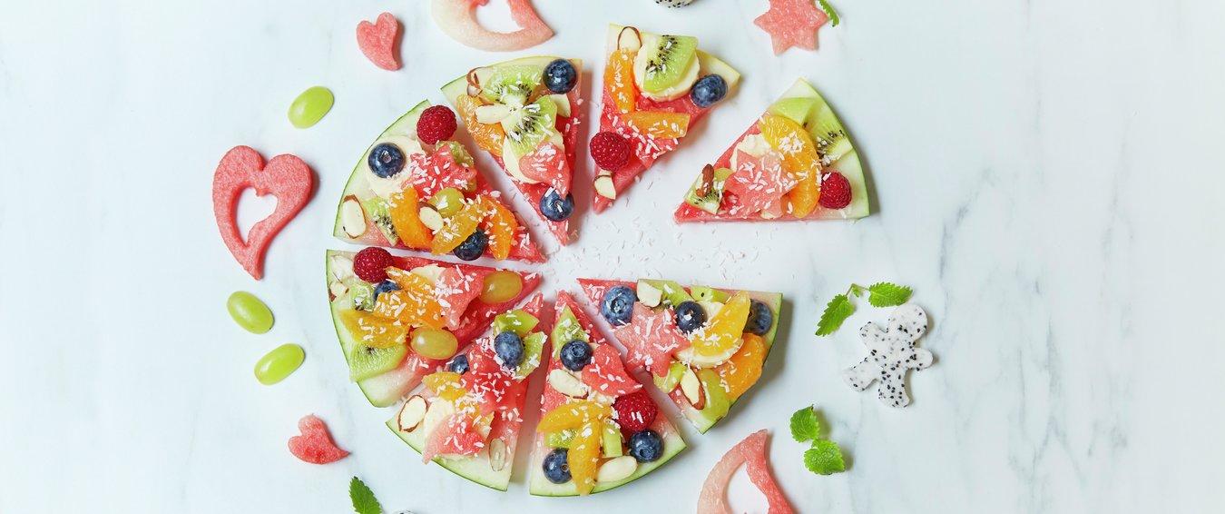 Melonpizza med fruktsalat