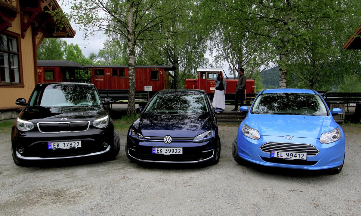 Stor sammenligningstest: Volkswagen e-Golf mot Ford Focus og Kia Soul