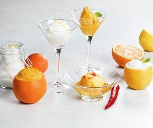 Appelsinsorbet og sitronsorbet