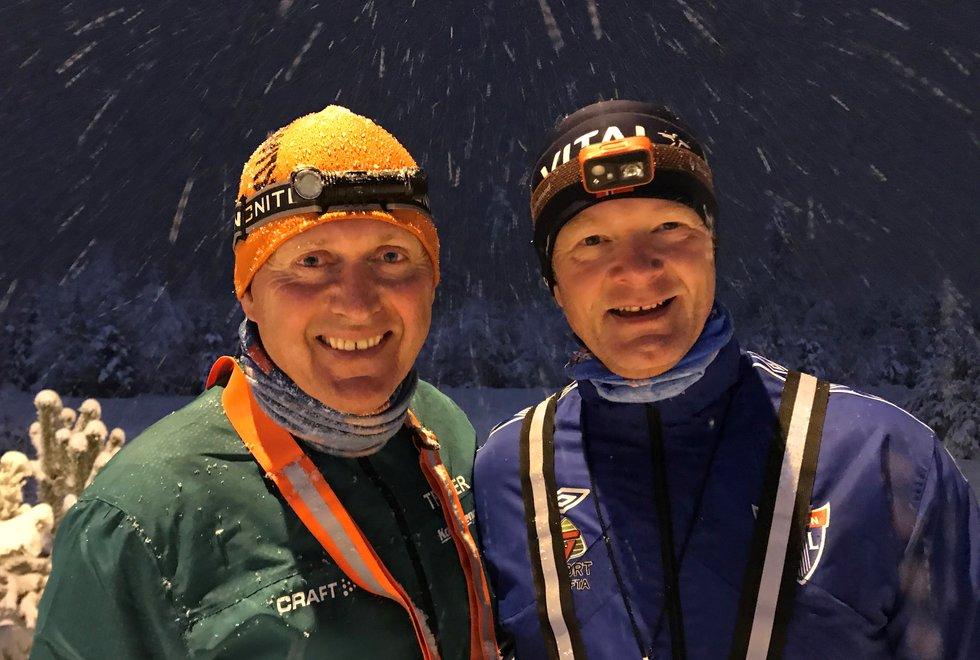 Kondistreninga Jessheim: Stein Terje Dahl (t.v) og Sverre Waagø er trenerne bak Kondistreninga Jessheim. De har som mål at treninga skal skape gode rutiner og varig løpeglede. (Foto: Marianne Røhme)