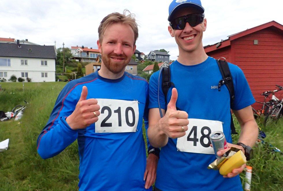 Knut Erlend Hjorth-Johansen (t.v) og Vidar Selju iTretoppsløpet på Jeløya 2019