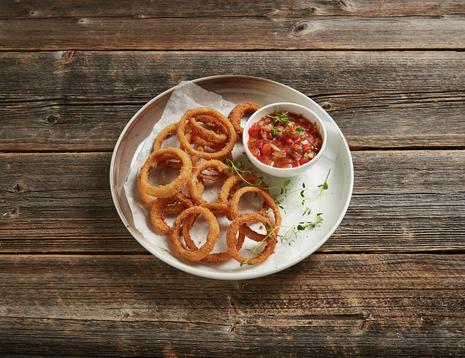 Løkringer med salsadipp - kjempegod snacks