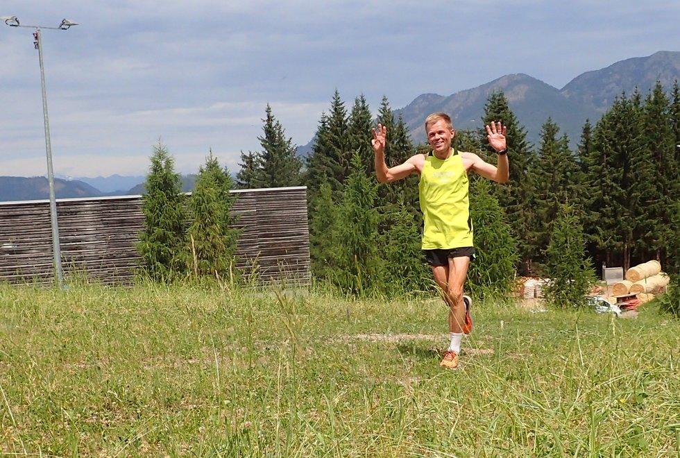 Johannes Økland i Monsterbakken i Cavalese i Val di Fiemme, Dolomittene, Italia