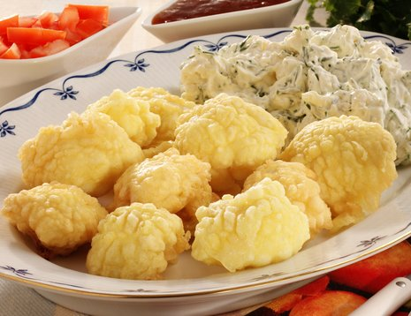 Blomkål tempura på fat