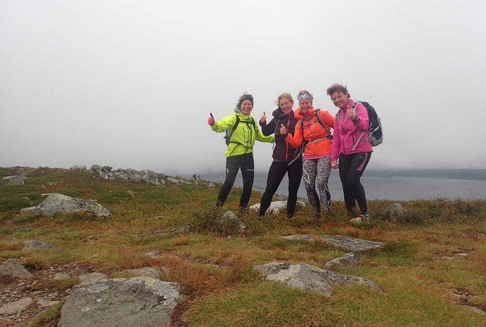 Fv: Marianne Røhme, Laila Tjelmeland, Yngvild Schwung Nilsen og Alice Steinkellner på løpesamling for Kondis på Ilsetra august 2020