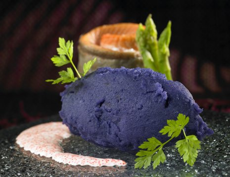 Blå potetmos