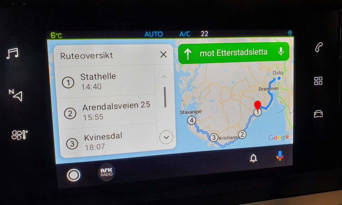 Nyhet: Få reiseruta fra ElbilAppen på skjermen i din elbil
