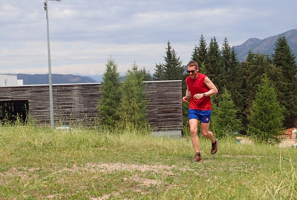 John Ole Skeide i Monsterbakken i Cavalese i Val di Fiemme, Dolomittene, Italia
