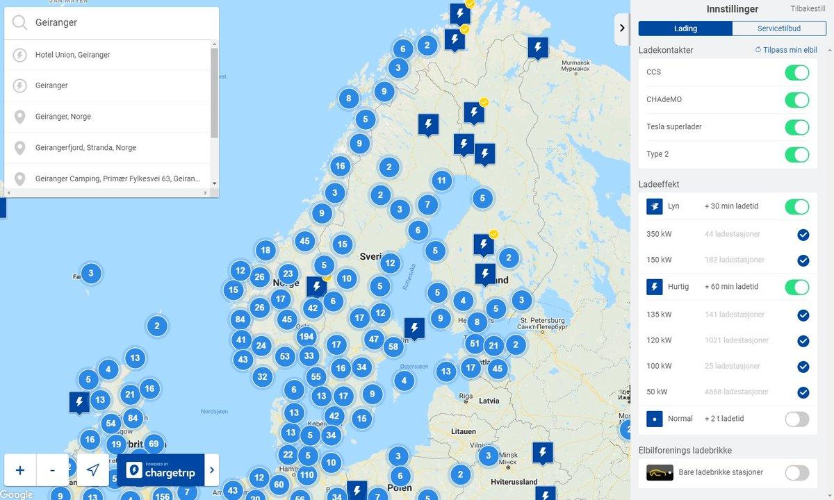 Kart med ladestasjoner for hurtiglading av elbil | Norsk