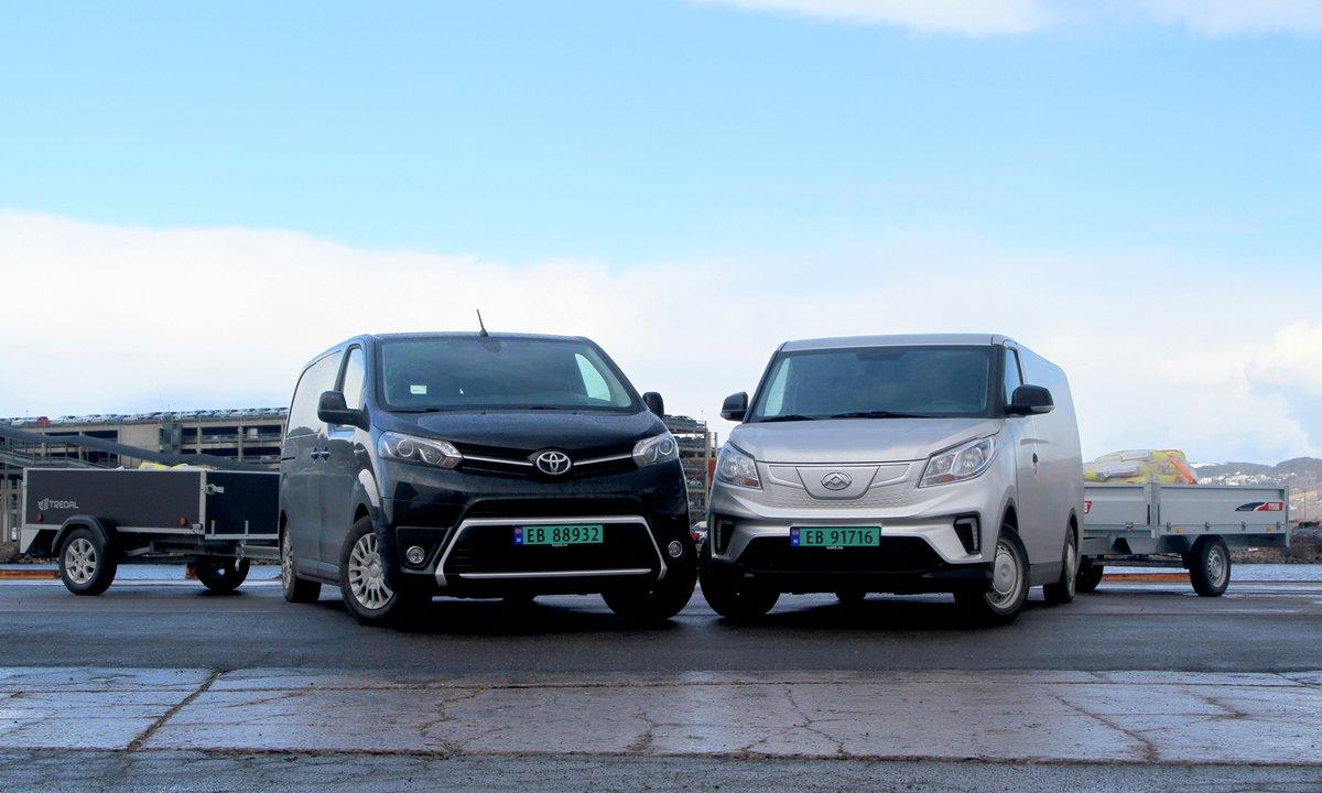 Elvarebiler i duell: Budsjett-Maxus mot fjongere fransk Toyota