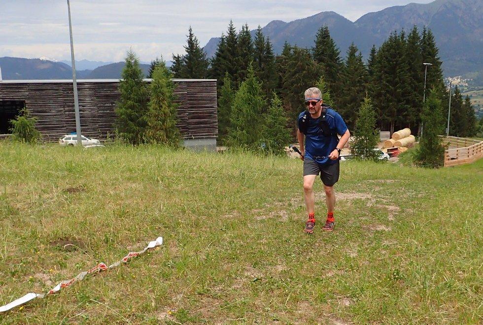 Gunnar Berre i Monsterbakken i Cavalese i Val di Fiemme, Dolomittene, Italia